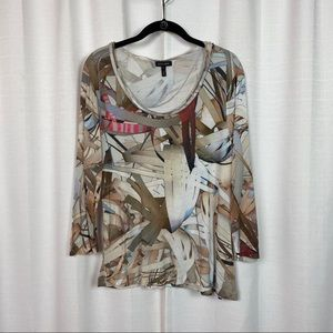 Escada Beige&Brown Abstract 3/4 Sleeve Knit Top